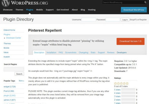 Wordpress Pinterest Repellent