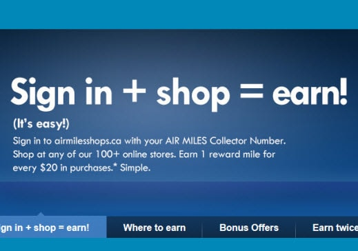Shop online with Air Miles