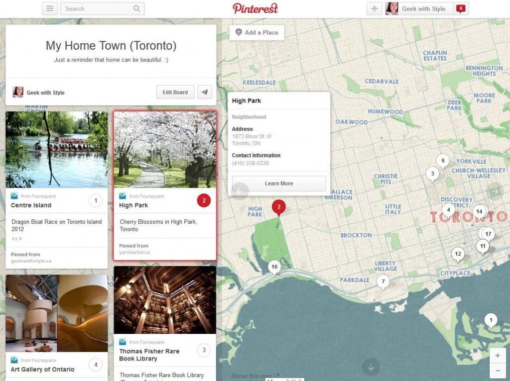 Interactive Mapping on Pinterest