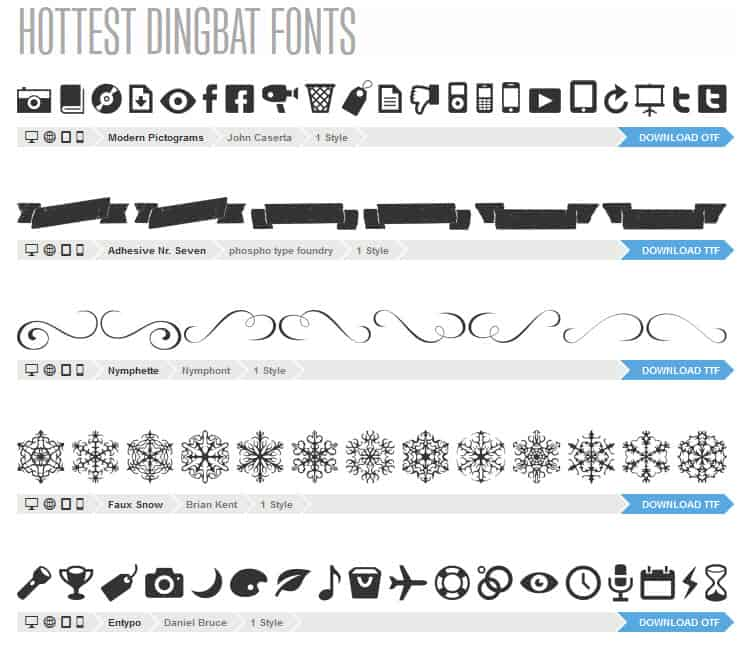 Dingbat fonts available for web use.