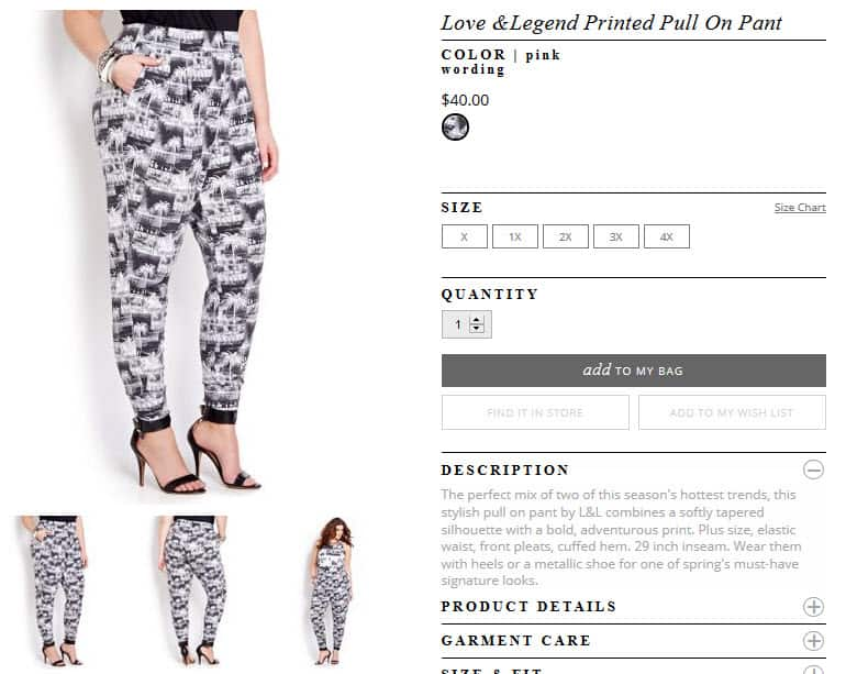 Love & Legend Printed Pull On Pant