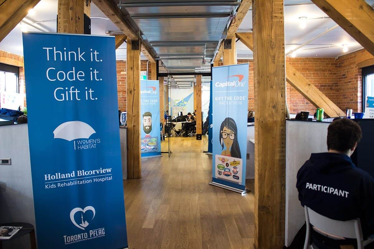 #GiftTheCode Hackathon - 40 hours to build apps for charity, sponsored by Capital One Canada.