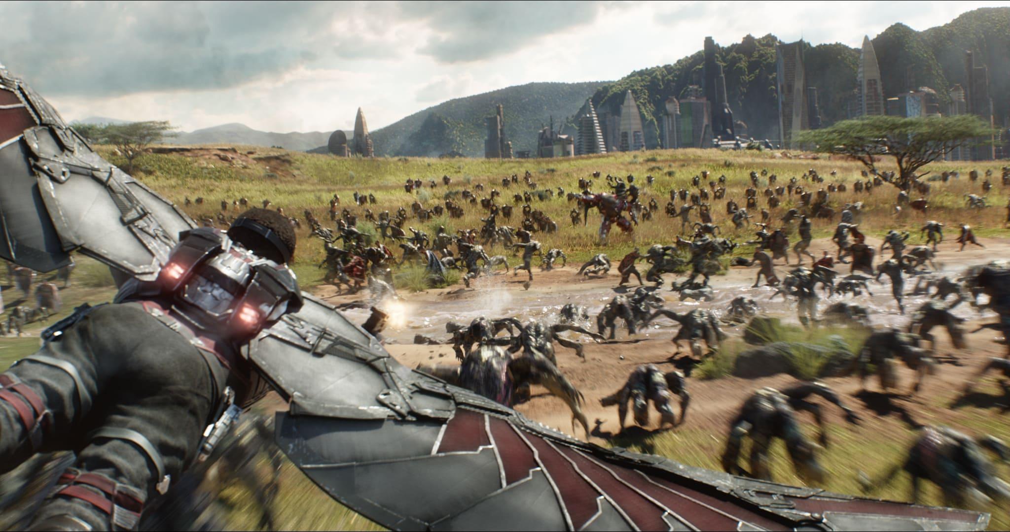Falcon fighting in Avengers Infinity War