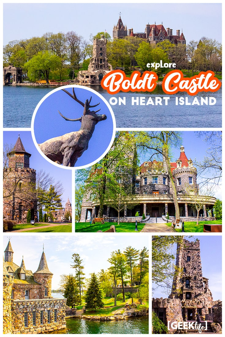 "#Travel your #BucketList: Visit Boldt Castle on Heart Island, 1000 Islands. This rhineland-styled castle is situated on ""Heart Island"" between Canada and the USA near Alexandria Bay. This castle has everything any castle-enthusiast could hope to explore. Massive structures, underground tunnels, its own island, a tragic love story, and likely a couple of ghosts."