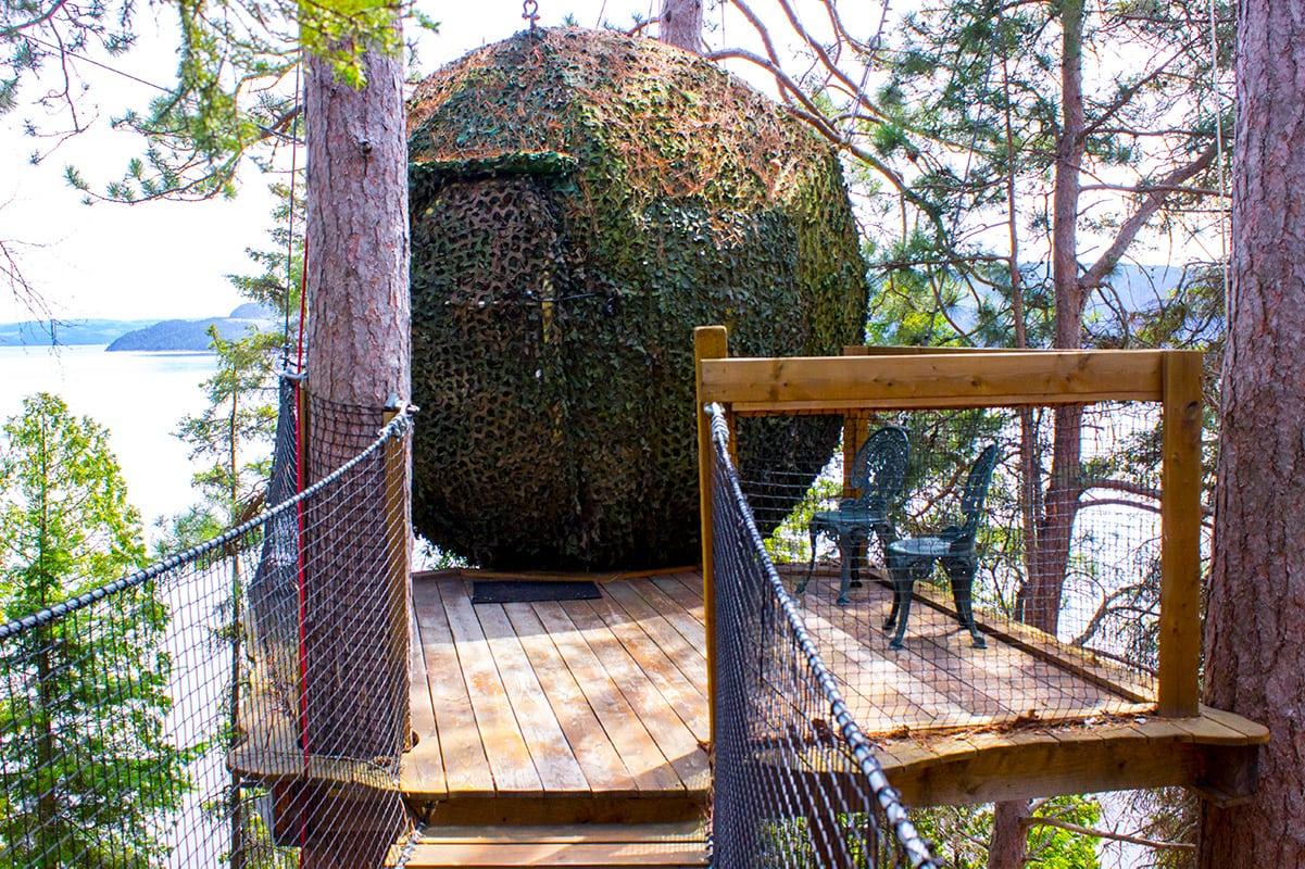 Camouflaged Suspension Pod Hotel Unique Stay Parc Aventures Quebec Canada