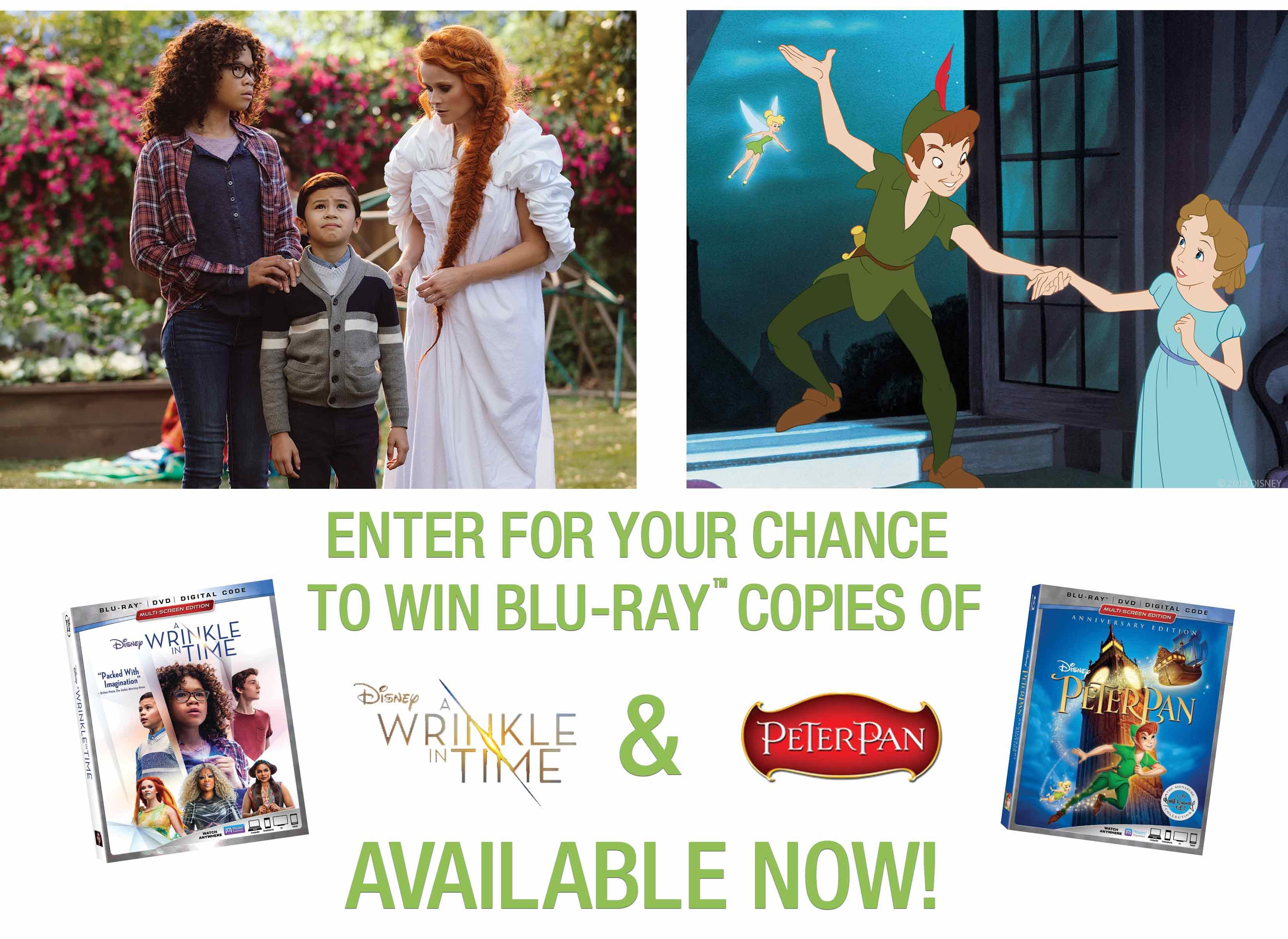 Disney DVD A Wrinkle in Time - Peter Pan Blu-Ray