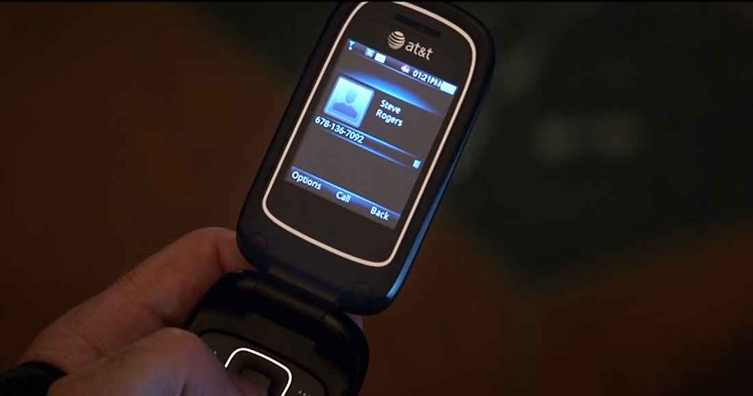 Marvel's Avengers: Infinity War - Steve Rogers burner phone with number showing: 678-136-7092.