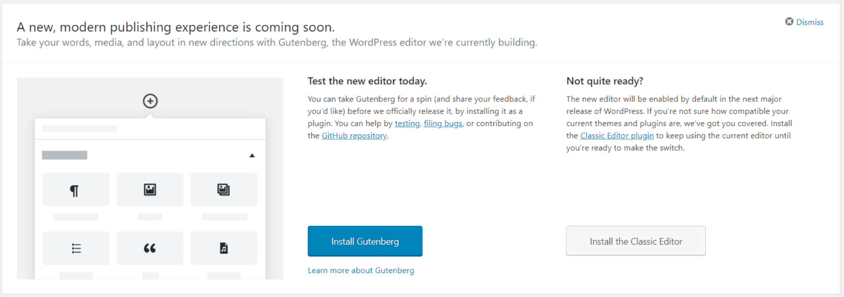 WordPress Gutenberg: A new, modern publishing experience is coming soon.