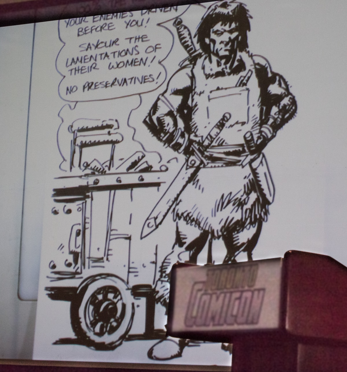 Conan sketch by Leonard Kirk - Conan selling at a hot dog stand. Hilarious!