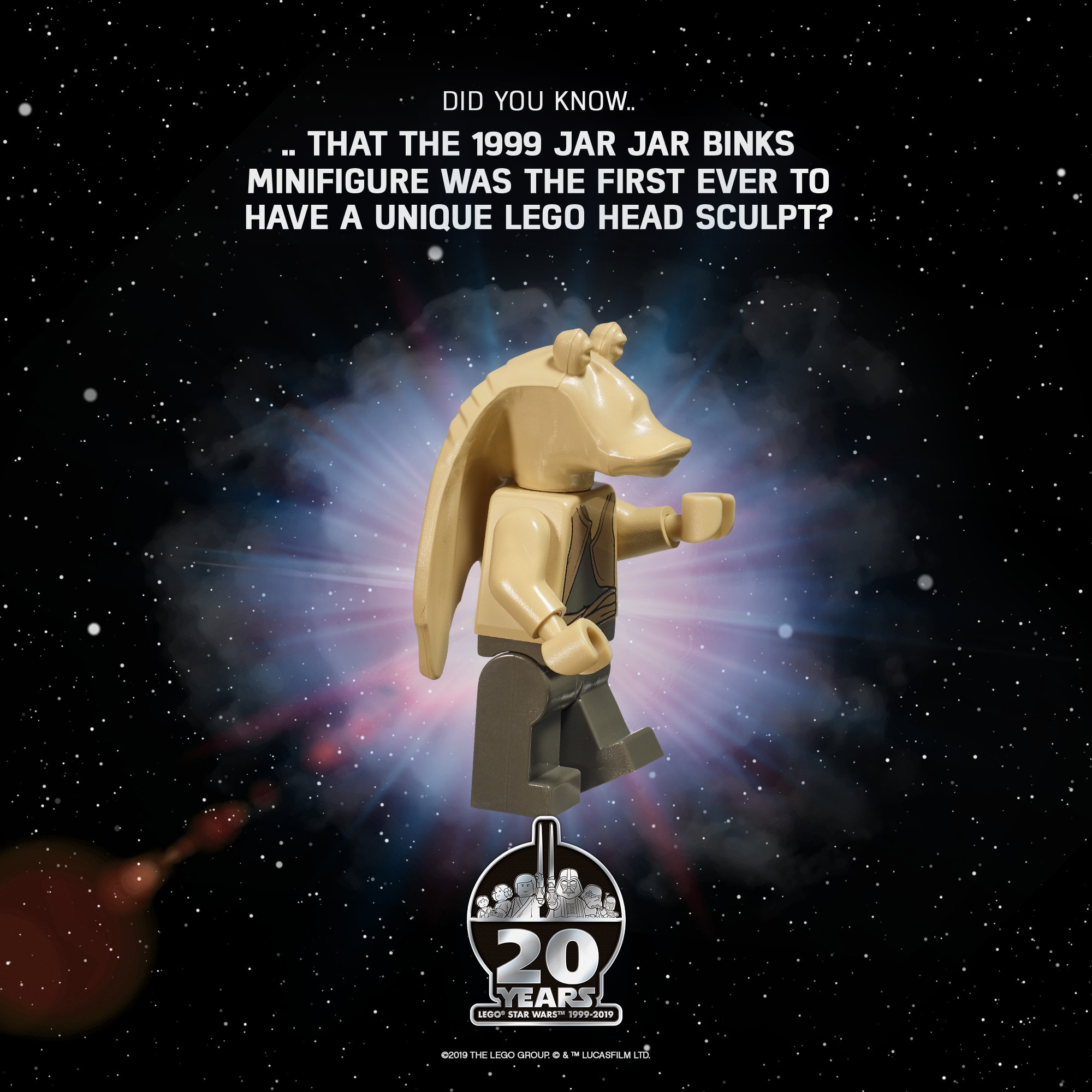 Jar Jar Binks has the distinction of being the very first unique LEGO head sculpt.