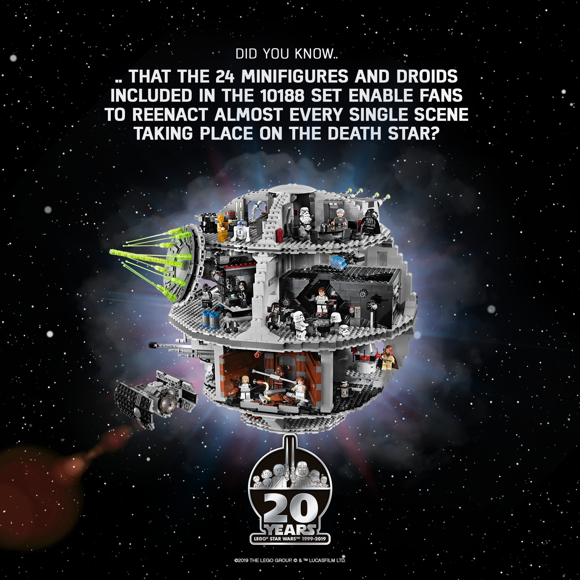 Remake every scene on the Death Star with the 24 Minifigures and Droids included with the 10188 LEGO Death Star Set.