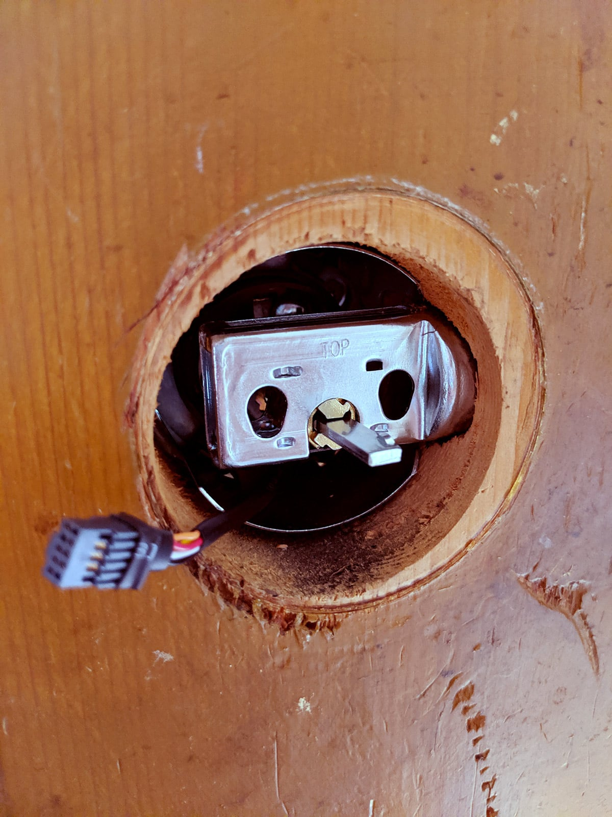 For those that have installed deadbolt locks before, the only notable difference for Schlage's digital door lock is the one wire that connects both sides of the lock.